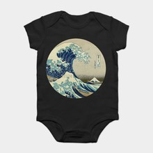 Baby Onesie Baby Bodysuits kid t shirt Fashion Cool Funny Great Wave off Kanagawa circle Customized Printed(China)