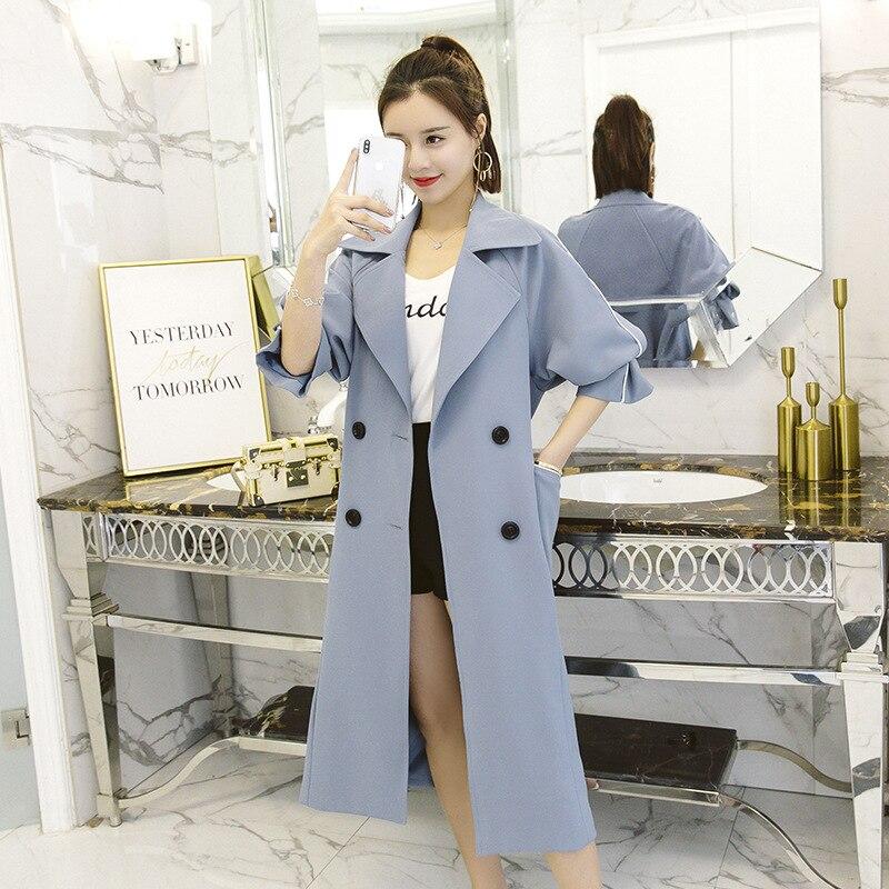 Automne vent Trench Femmes Boutonnage Double Mode Chic Femme black Ligth Pour Long coréen Blue À Avec Pardessus Coat A62 Printemps 2018 Nouvelle Coupe Ceinture IwZ4IxqvC