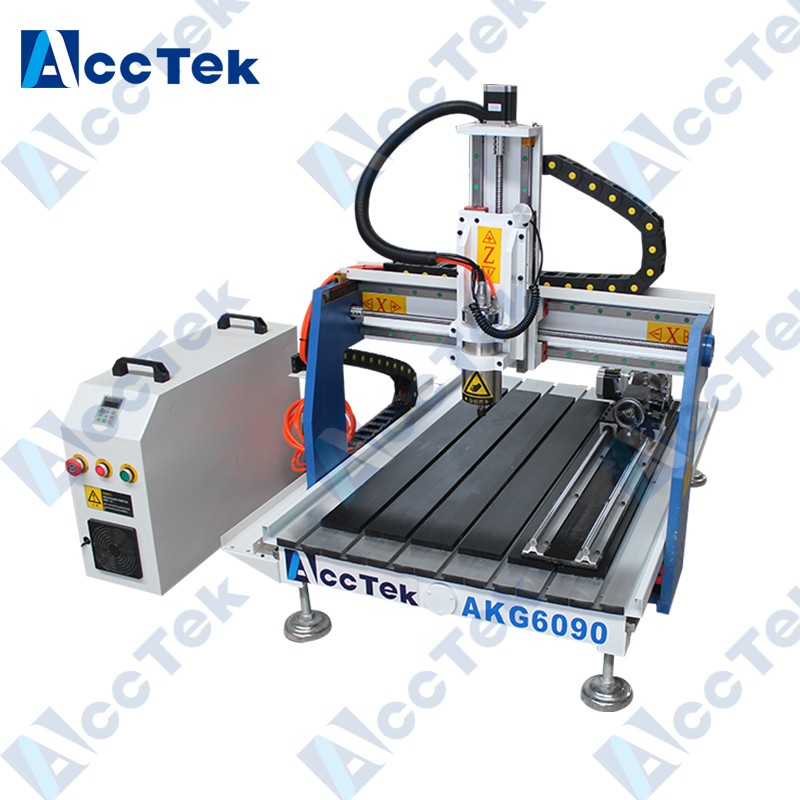 Machine de routeur Acctek 6090 CNC avec axe rotatif pour petites sculptures