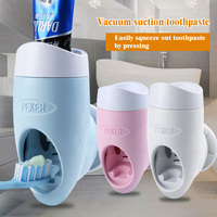 Toothpaste Dispenser Home Vacuum Automatic Toothpaste Holder Abs Toothbrush Holder Set Wall Mount Stand Hands Free Squeeze Out Toothpaste Squeezers    -