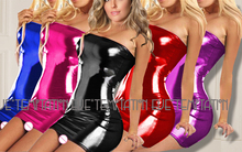 sexy lingerie costumes Sexy glisten Metallic PVC FAUX LEATHER Underwear Babydoll Lingerie  strapless pole dancing Corsets