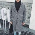 La primavera de invierno para hombre de lana de tejer abrigo de alta calidad espesar abrigo de los hombres de moda casual chaqueta larga floja W873