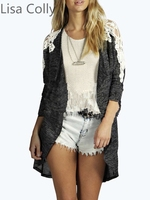 Lisa Colly Fashion Lace Stitching Long Sleeved Cardigan Jacket Coat Spring Autumn Women Coat Classical Black