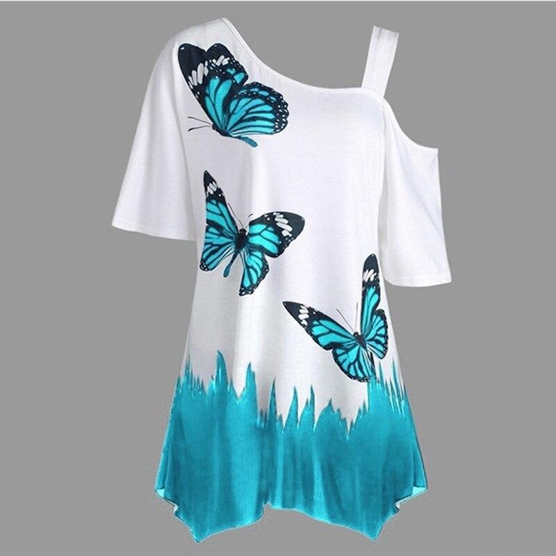 Summer   Blouses   Women Butterfly Printed Tee One Shoulder Irregular Top Female Plus Size Loose Tee Top Streetwear
