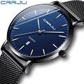 Унисекс, подарочные часы CRRJU, мужские часы с синим циферблатом и сеткой, ультра тонкие повседневные кварцевые часы для мужчин, спортивные ча...