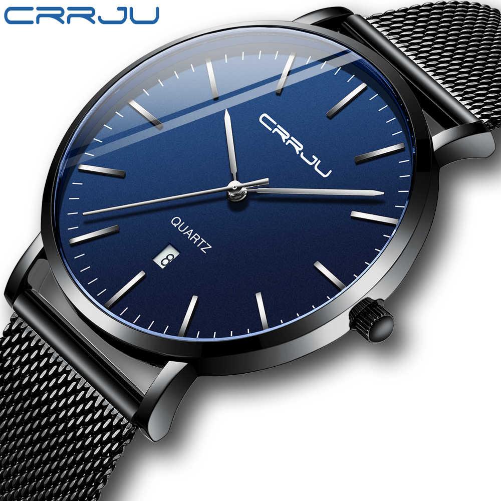 יוניסקס מתנה שעונים CRRJU Mens הכחול חיוג רשת שעונים Ultra דק מקרית קוורץ שעונים לגברים ספורט תאריך שעון Relogio masculino