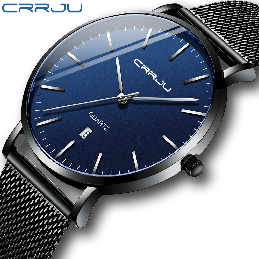 Unisex Gift Watches CRRJU Mens Blue Dial Mesh Watches Ultra Thin Casual Quartz Watch For Men Sport Date Clock Relogio Masculino