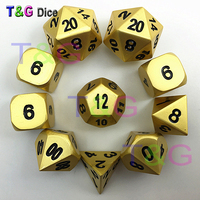 DICE Metal Full BRONZE Set d20 Shiny Heavy RPG D&D Alloy 10 Dice Pearl Gold Color