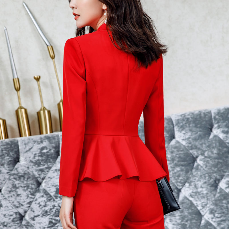 2019 Spring Autumn Women Red Elegant Office Lady Jacket Work Suit Casual Slim Ruffled Double Breasted blazer solid Dushicolorful