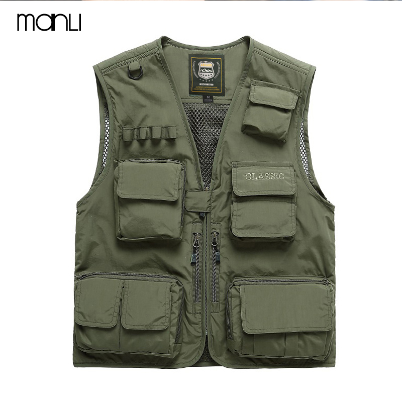 MANLI Men Multi-pocket Vest Men Quick Dry Thin Mesh Photography Vests Male Multifunction Outdoors Fishing Waistcoat Cargo Coats men s multi pocket camouflage fishing vest summer autumn hunting outdoor travel waistcoat quick dry zip jacket l xxxxl