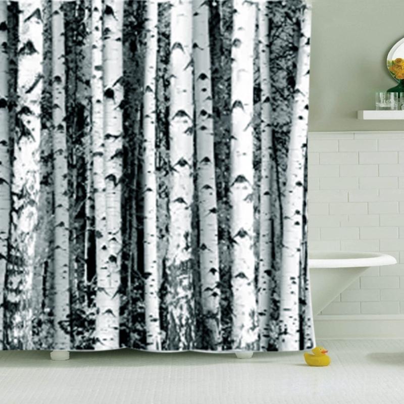 Nordic Shower Curtain Polyester Birch Rustic Modern