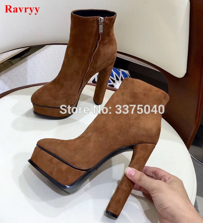 Ravryy Chunky Haut Talon Chaussures Femmes Brun zipper Cheville Bottes Bout Pointu Plate-Forme Dames Mode Chausson 35-41