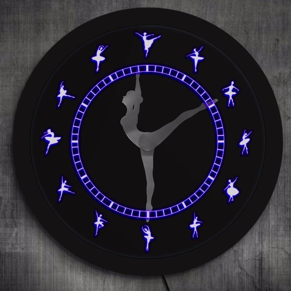 Ballerina Figurine di Illuminazione A LED Orologio Da Parete Ballerina Silhouette Opera D'arte di Balletto Camera Orologio Decorativo Balletto Regali per le Ragazze