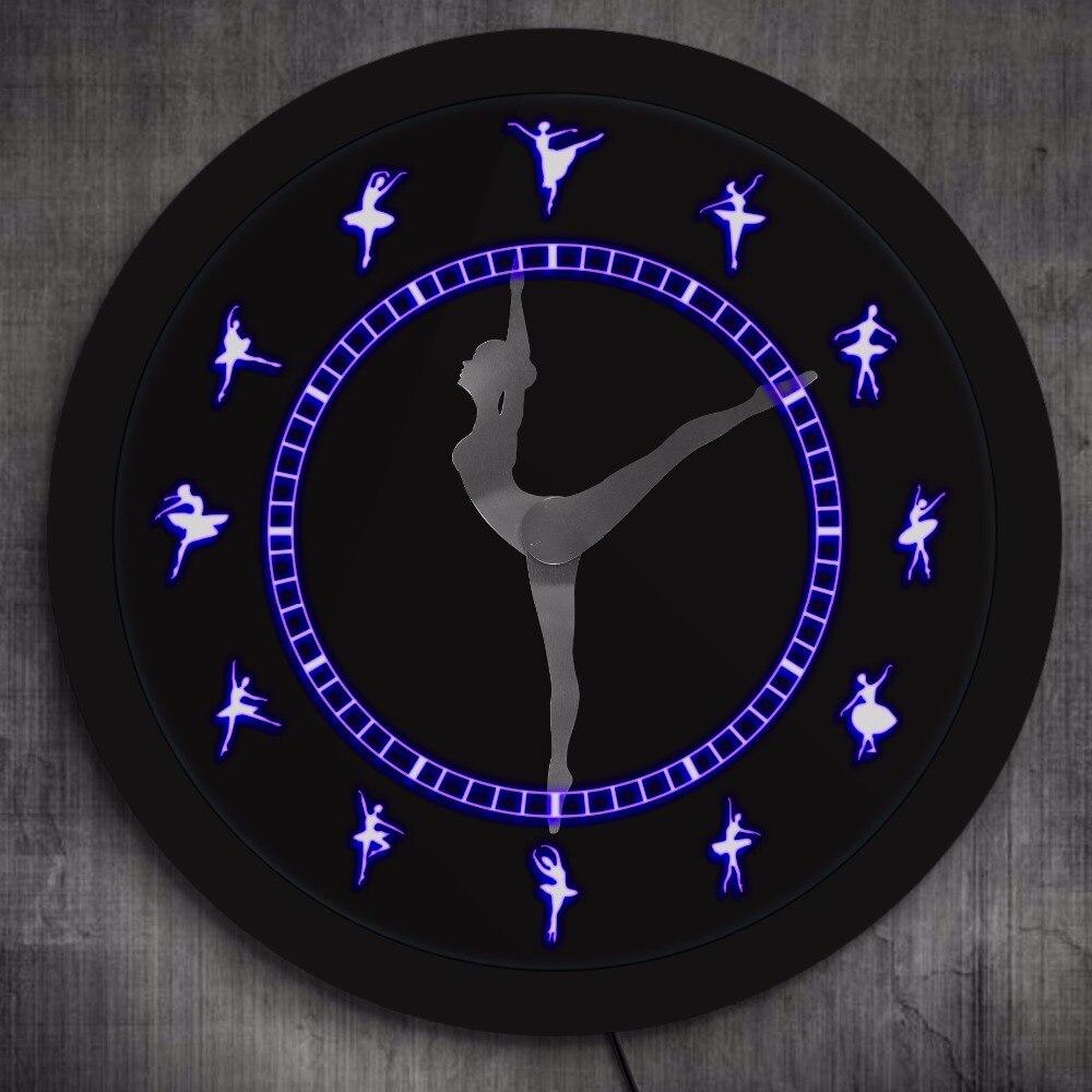 Ballerina Figurines LED Lighting Wall Clock Ballerina Silhouette Artwork Ballet Room Decorative Clock Ballet Gifts For Girls