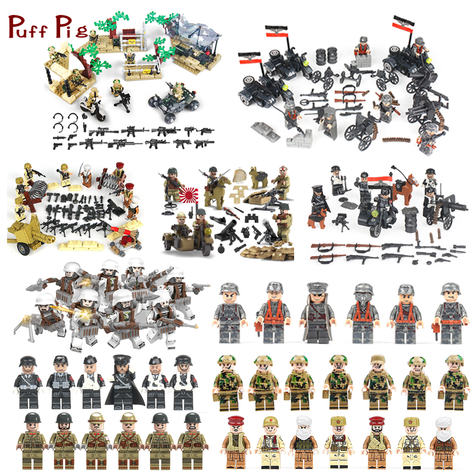 Military Special Forces Soldiers Bricks Germany Figures Guns Weapons Compatible Legoings SWAT Army Building Blocks Children Toys 6pcs swat special forces police the wraith assault cs with motorcycles weapons figures building blocks bricks toys for kids