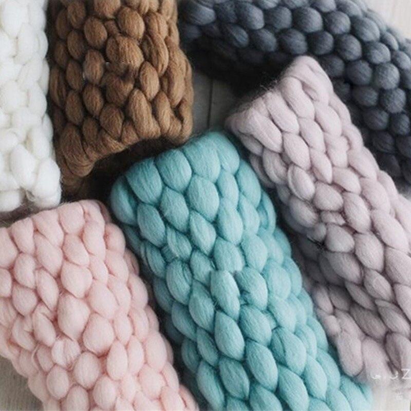 цена на Newborn Photography Blanket Hand Knitting Crochet Soft Baby Blanket Basket Stuffer Filler Newborn Photo Shooting Backdrop Props