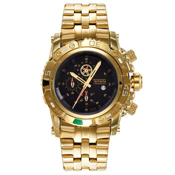 2018トップブランド高級ゴールデン男性腕時計ビッグダイヤルゴールド時計ステンレス鋼腕時計メンズ時計防水レロジオmasculino