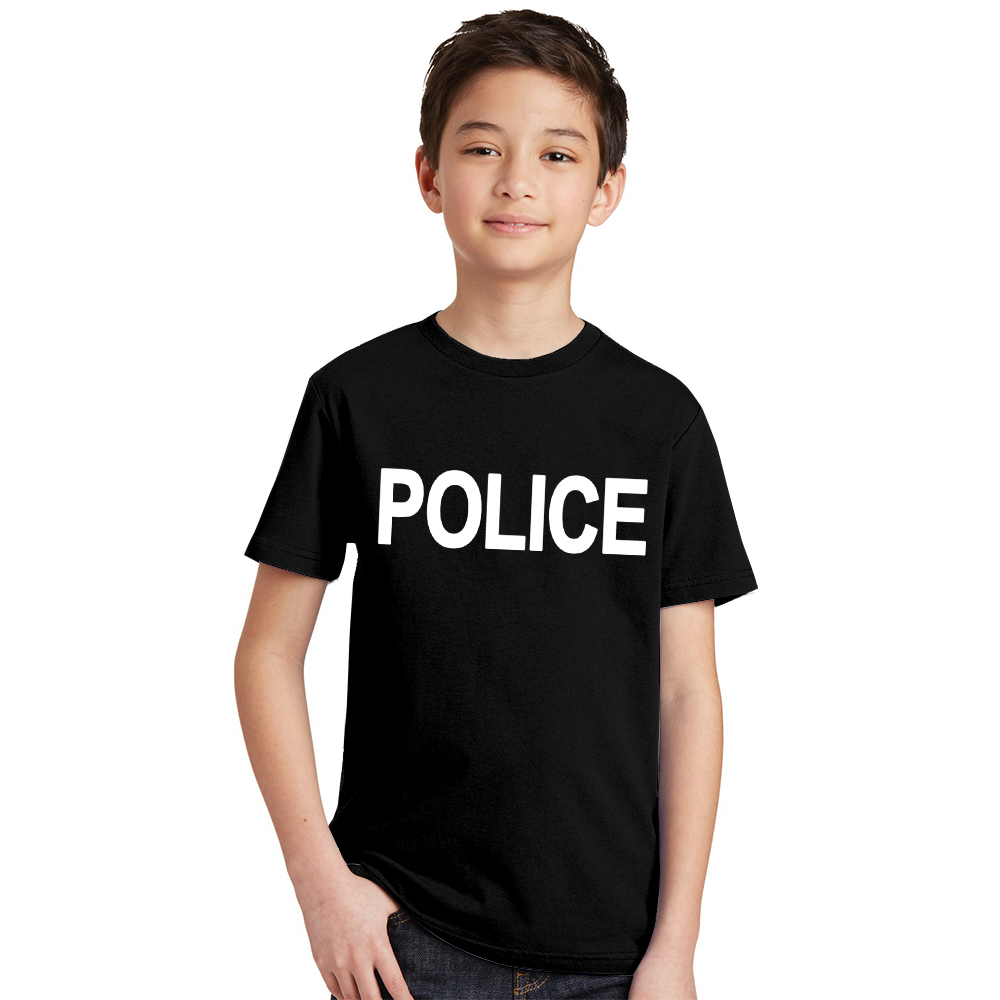 Costume Tshirt POLICE Summer Dress Tops Teens Fashion Children Letter Unisex Print Cosplay