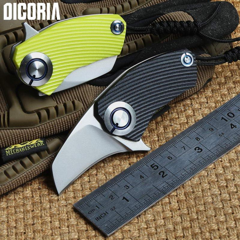 DICORIA Papagaio SiDis rolamento Flipper faca dobrável 9Cr18MoV lâmina G10 Alça De Titânio facas de sobrevivência acampamento ao ar livre ferramentas EDC