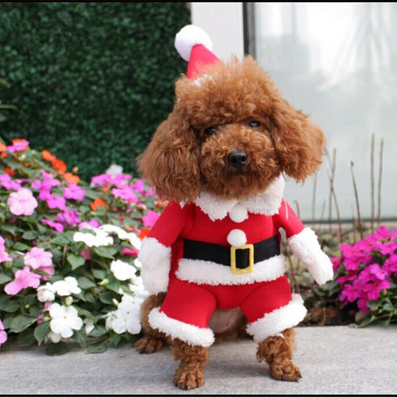 New Pet Christmas Costume Dog Suit with Cap Santa Claus Coat Hoodies for Small Dogs Cats Funny Puppy Christmas Party Clothes BS
