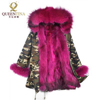 Hot Raccoon Fur Parkas Jacket Hooded With Large Fur Collar Winter Warm Long Coat Thick Real