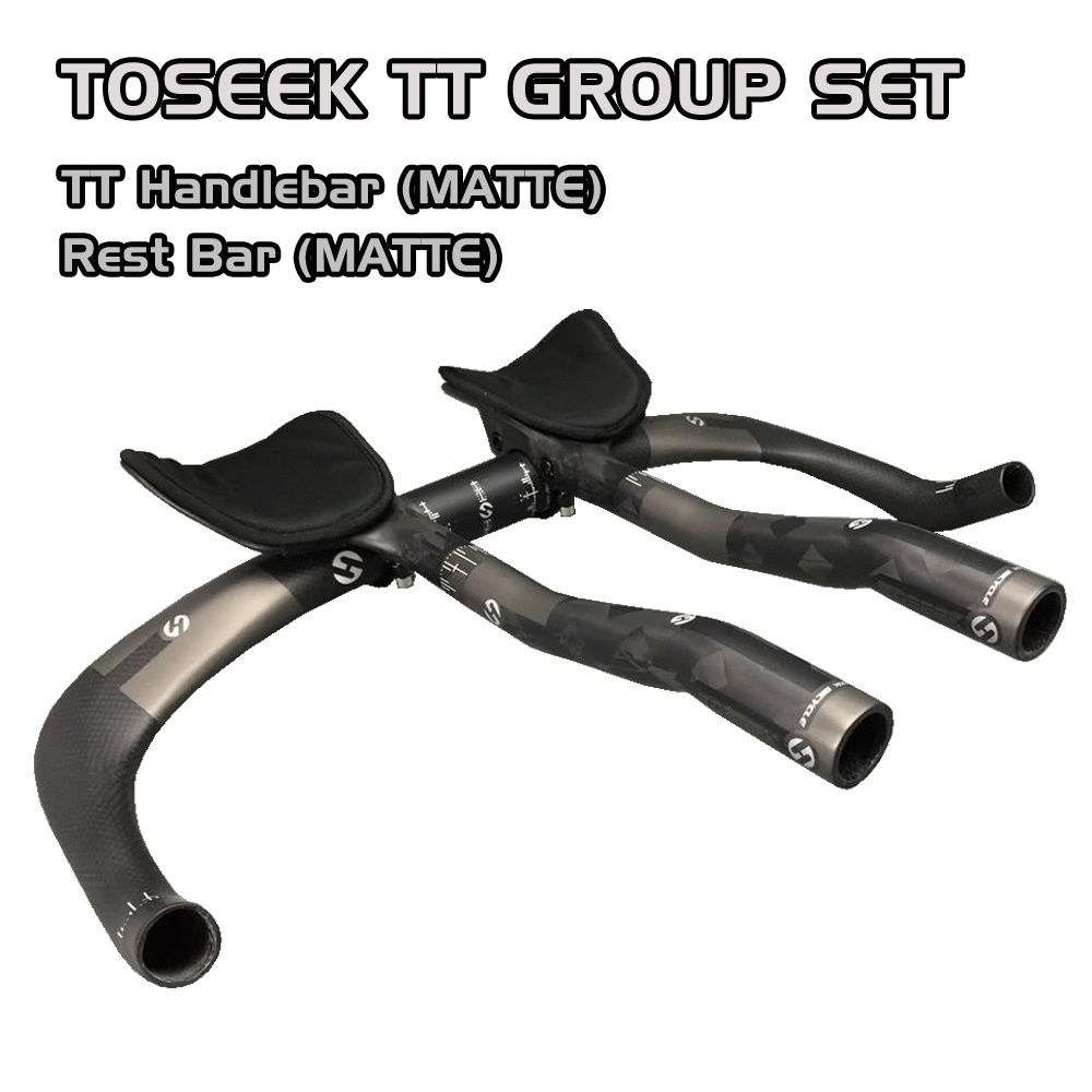 TOSEEK FULL Carbon Triathlon Time Trial Handlebar + Rest Bar SET MATTE For Road Bike 31.8mm 400mm 420mm 440mm 460mm future tt road mountain bike carbon fiber handlebar mtb triathlon bicycle tt rest bar handlebar 400 420 440mm