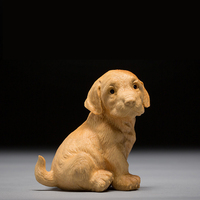 Wooden Cute zodiac Dog Boxwood carved wood figurine handicrafts living room small ornaments puppy Creative Wood sculpture
