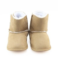 New Winter Pretty Khaki Thick Plush Soft Sole Boots Boy And Girls Casual Toddler Baby Shoes