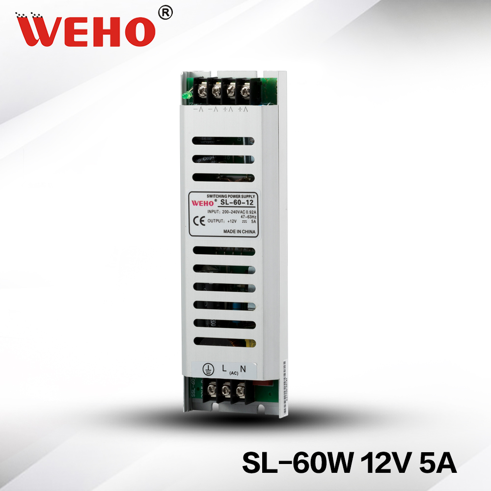 (SL-60-12)60W 12V 5A ultra thin slim type constant voltage power supply for led lights