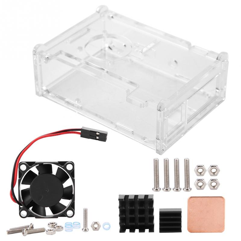 Cooling Fan for Raspberry Pi with DIY Transparent Enclosure+Black Cool Fin+Mini Fan  Fan Adjustable 5V  Cooling Fan thumbnail