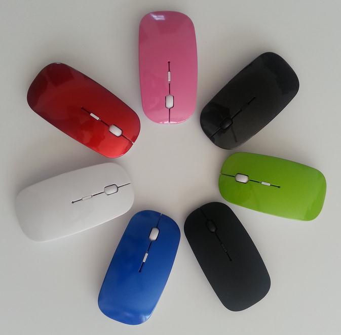 bilder für Slim wireless mouse für apple computer laptop 2,4 ghz usb ultradünne universal optische maus kristallkasten paket