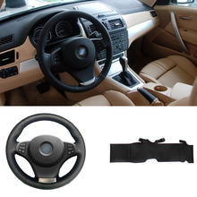 цена на Brand New DIY Sewing-on PU Leather Steering Wheel Cover Exact Fit For BMW E83 X3 E53 X5