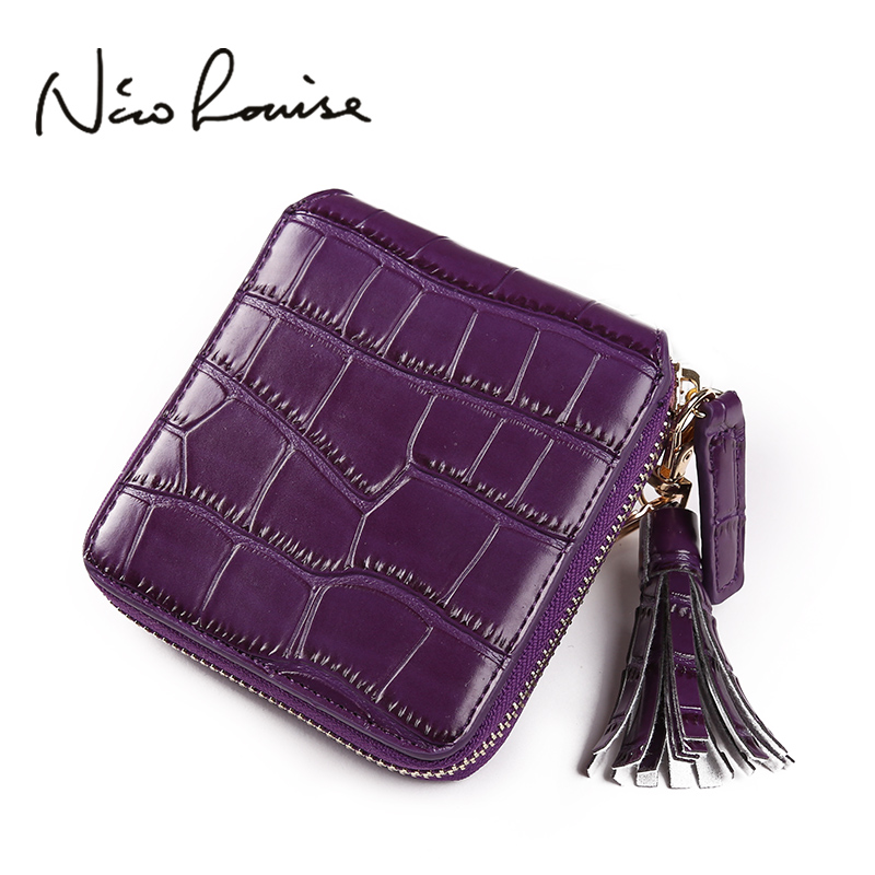 2017 New Crocodile Skin Tassel Leather Square Women Wallet Muticolor Designer Clutch Girl Purse Money Coin Card Holder Carteras yuanyu real 2018 new hot free shipping crocodile women clutches long wallet crocodile skin female wallet women purse