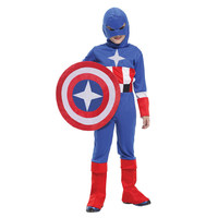 Unisex Christmas Party Clothes Stage Performance Clothing U.S.A Captain Anime Cosplay Costume For Kids CQB0061