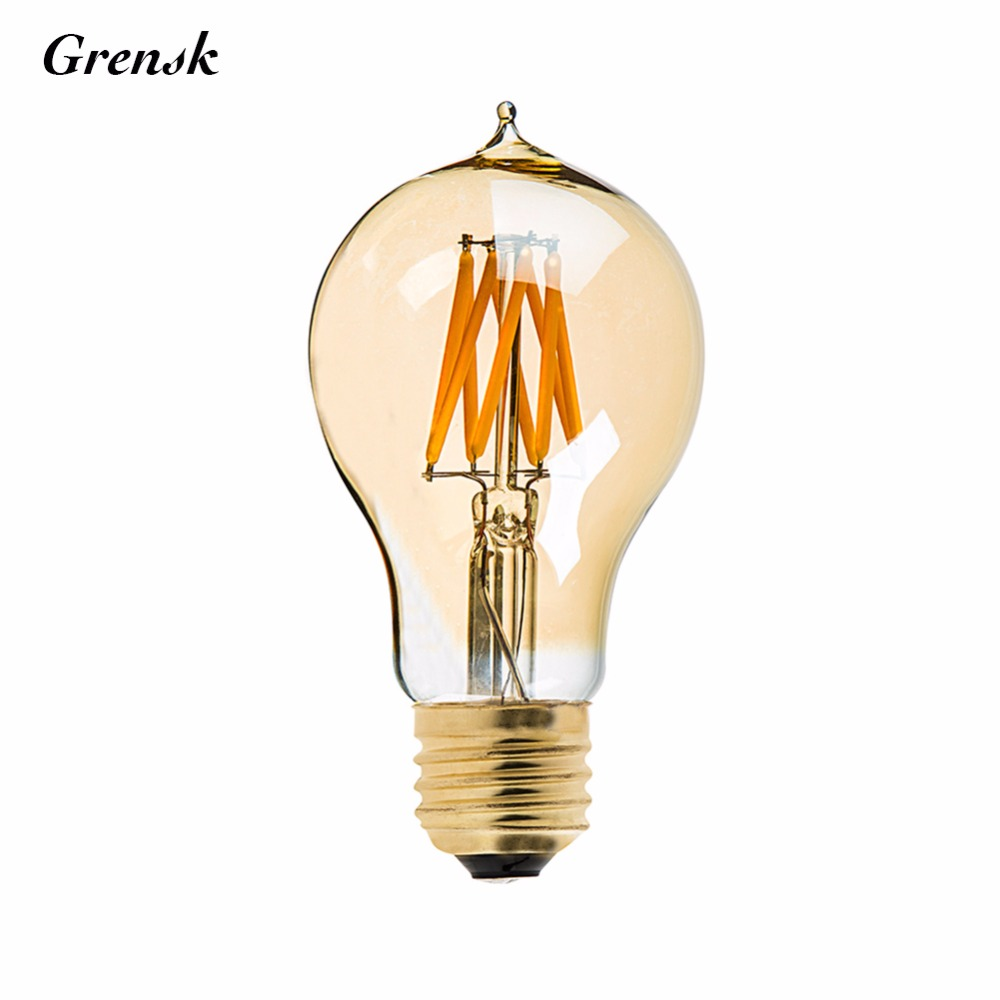 Gold Tint,8W,Edison A19 Victorian Style,Vintage LED Filament Bulb,Super warm 2200K,E26 E27 Base,Decorative Lighting,Dimmable