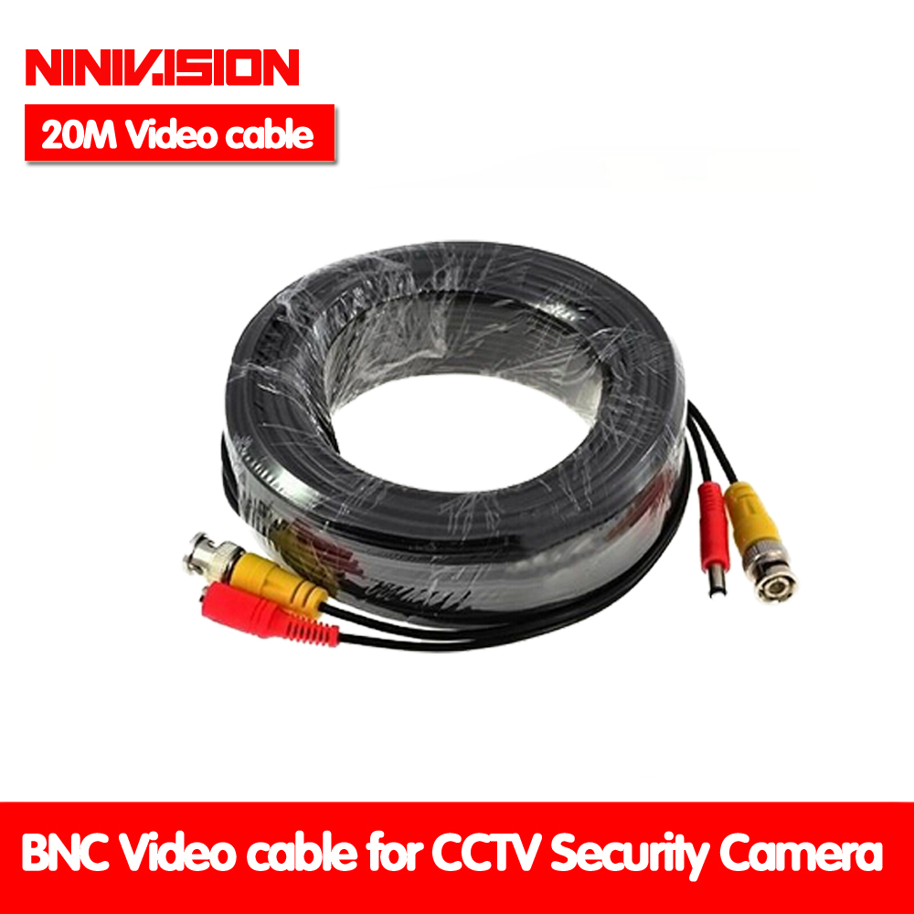 NINIVISION 65ft(20m) BNC Video Power Siamese Cable for Surveillance CCTV Camera Accessories DVR Kit