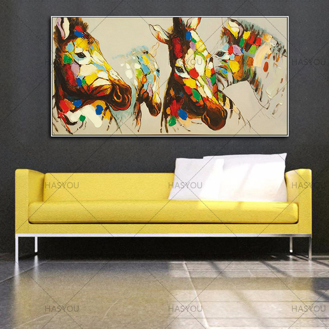 Hand Painted Modern Abstract Acrylic Animal Canvas Oil Paintings ...
