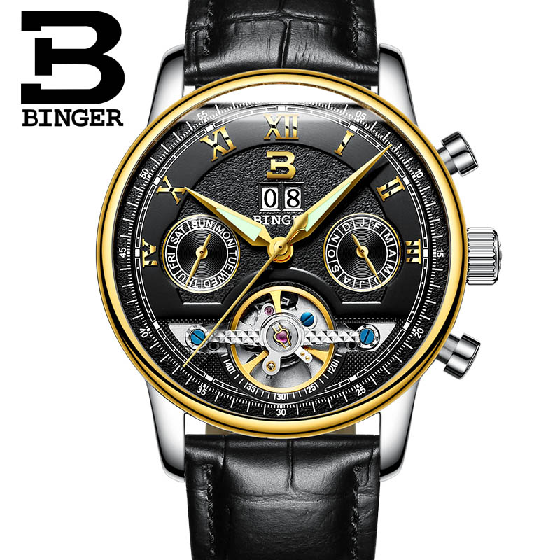 BINGER Men Luxury Brand Watch Black Leather Sport Tourbillion Automatic Mechanical Wristwatch Gift Box Relogio Releges 2016 New 2016 luxury wristwatch black leather belt male automatic watch men s sports watch black face