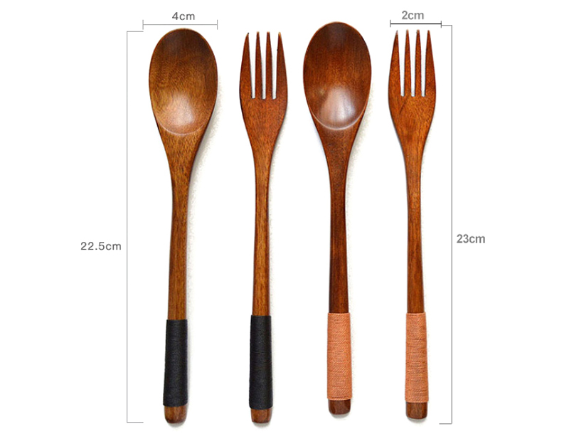 Japanese Style Dinnerware Set With Scoop Fork Portable Cutlery Set For Kids School Picnic Kitchen Wooden Tableware Utensil Set (14)