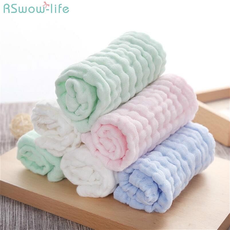 4Pcs 26cm*26cm Cotton Yarn Baby Small Square Towel Mouth Towel  Cotton Handkerchief  Scarf With Pocket Wipe Hands Wash