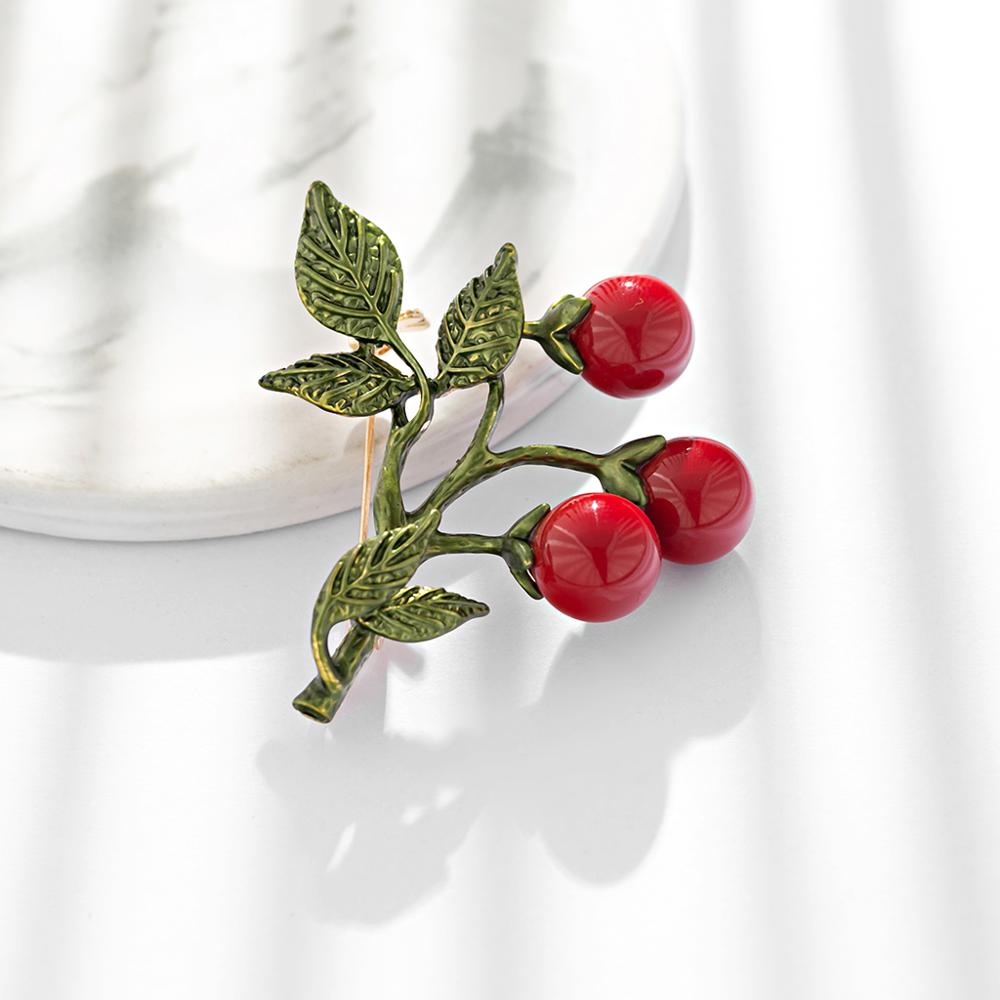 Real stock Simple Women Fruit Cherry Brooch Alloy Drops Silk Scarf Turban Pin Fashion Creative Brooches Jewelry Gifts in Brooches from Jewelry Accessories