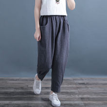 Cotton Women Trousers 2019 Spring Solid Color Linen Jacquard