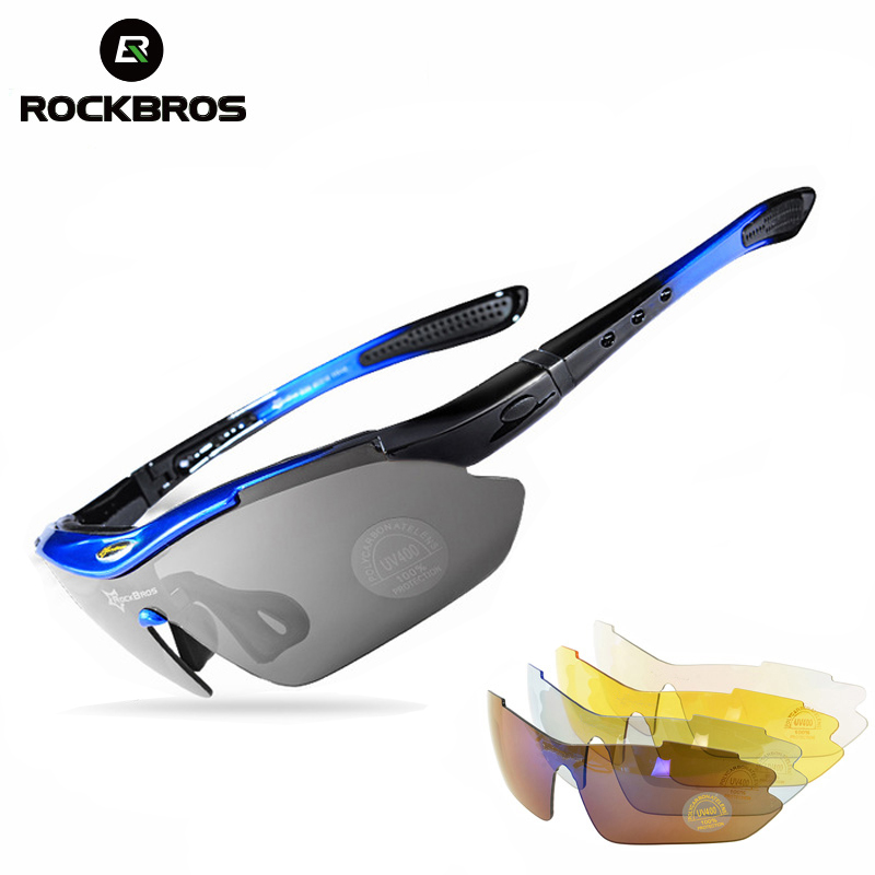 ROCKBROS Polarized Sports Cycling Sun Glasses Hiking Glasses MTB Protect Bicycle Goggles Bike Eyewear Sunglasses 29g 5 Lens Men стоимость