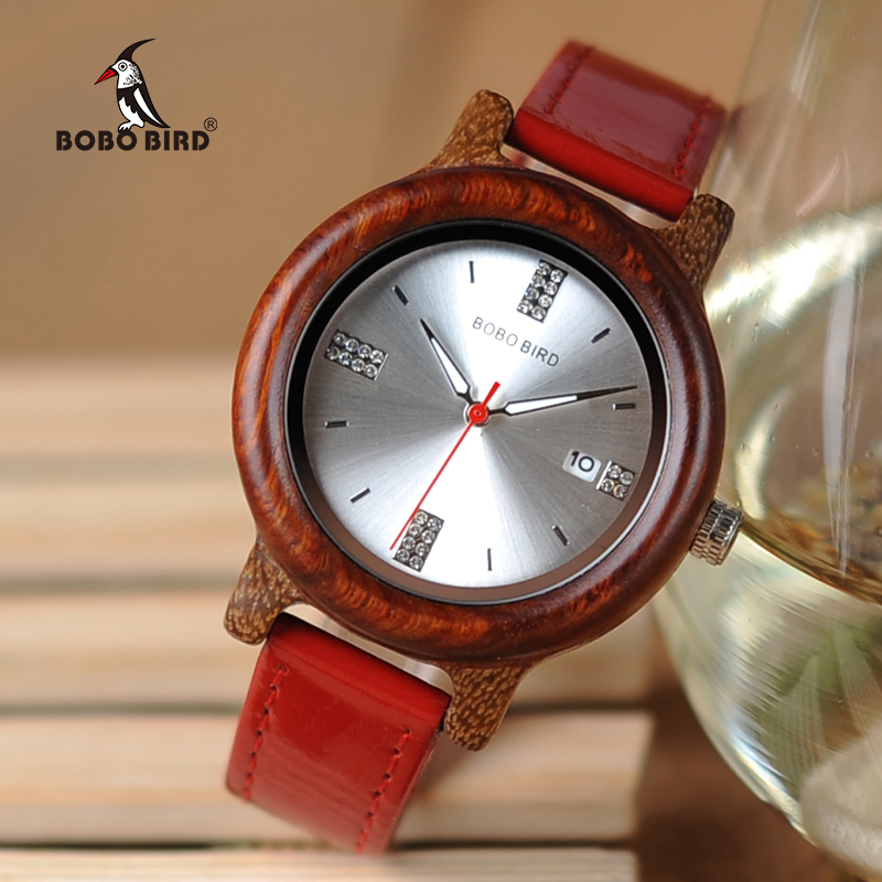 BOBO BIRD New Arrival Wooden Women Watches Rhinestone Dial Ladies Causal Watch with Date Display Two Color Option bobo bird women watches all zebra wood case rhinestone dial ladies dress watch with quartz in wooden box