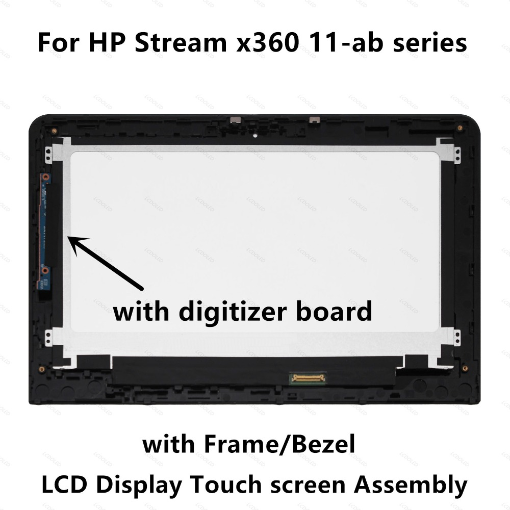 LCD Display Touch Screen Digitizer Assembly+Frame For HP Stream x360 11-ab series 11-ab002np 11-ab003ni 11-ab003np 11-ab003nt недорго, оригинальная цена