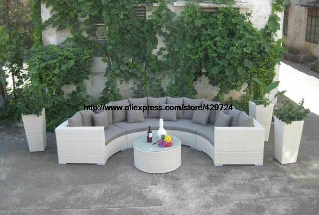 Halb Runde Wicker Sofa Set Garden Sofa Mit Couchtisch Gesundheit PE Ratten  Möbel Terrasse Gartensitzgruppe HFA108