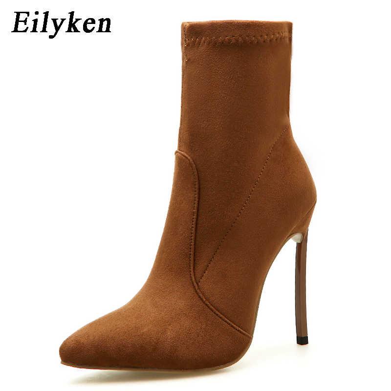 Eilyken 2020 Musim Gugur Musim Dingin Wanita Sepatu Kain Peregangan Fashion Menunjuk Toe Sepatu Hak Tinggi Chelsea Boots Wanita Sapatos Ukuran 42