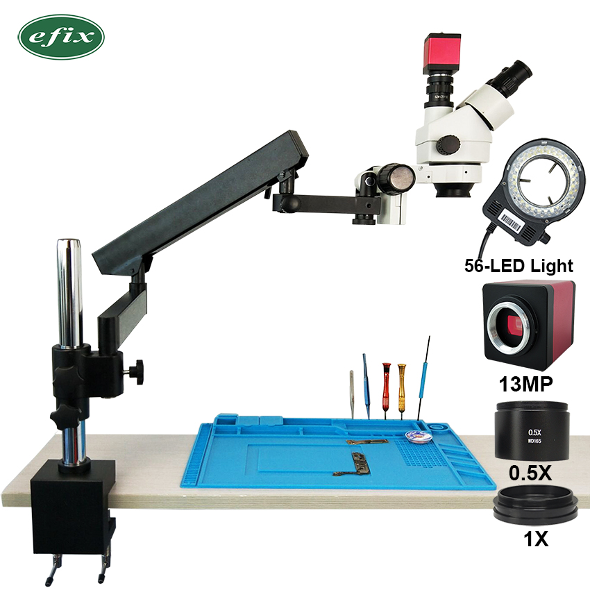 Efix 13MP HDMI VGA 3.5-45X Trinocular Stereo Zoom Soldering Microscope Articulating Arm Clamp Stand Camera Mobile Phone Repair