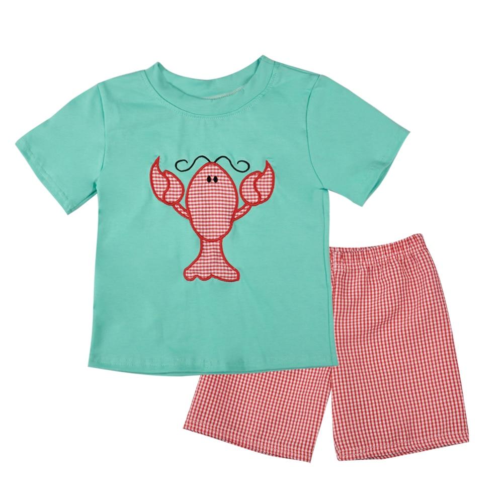 696bd338c Popular Design Summer Boy Light Green Lobster Pattern Short Sleeve T-shirt  Pants High Quality