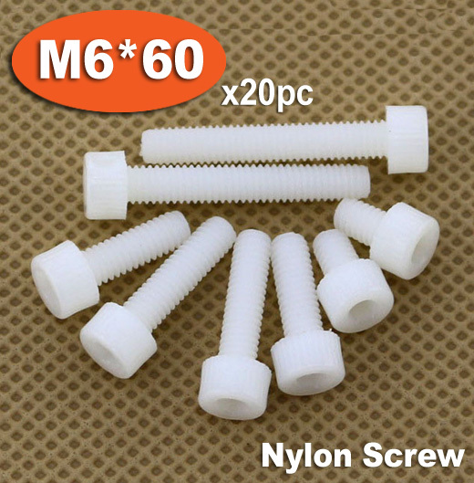 20pc DIN912 M6 x 60 White Plastic Nylon Screw Hexagon Hex Socket Head Cap Screws 2pc din912 m10 x 16 20 25 30 35 40 45 50 55 60 65 screw stainless steel a2 hexagon hex socket head cap screws